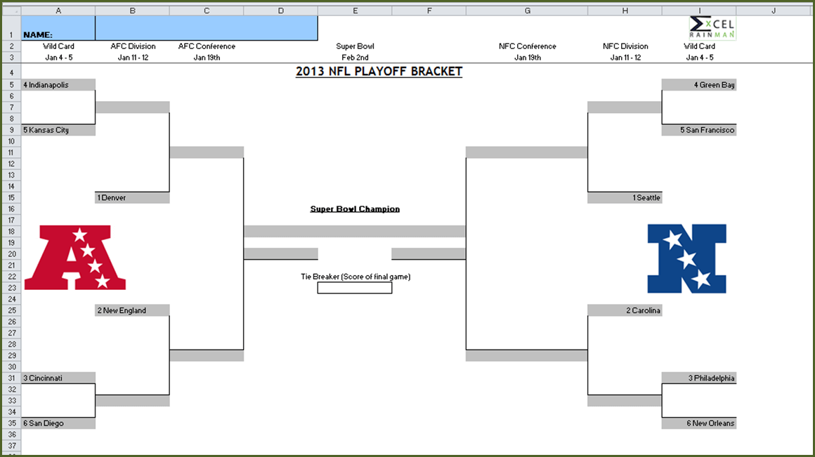 This is an image of Fan Nfl Playoff Bracket 2020 Printable